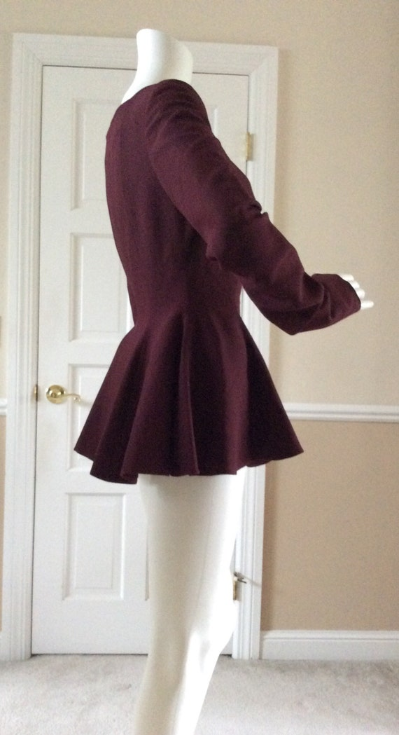 Gianni Versace for Complice 1990 burgundy peplum r