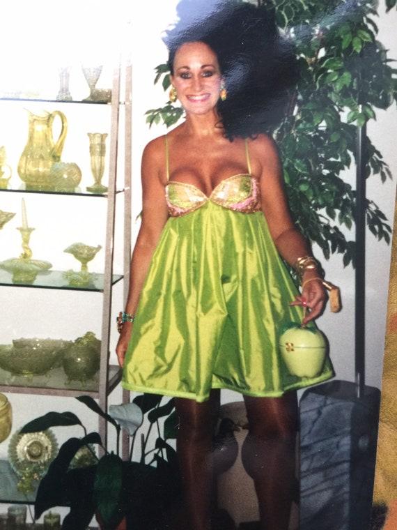 Max Mara vintage 1990s baby doll dress, chartreuse