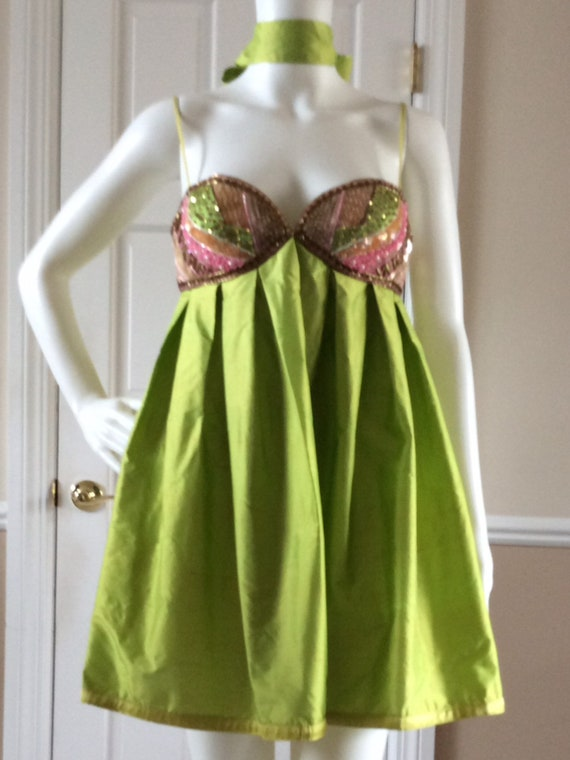 Max Mara vintage 1990s baby doll dress, chartreuse