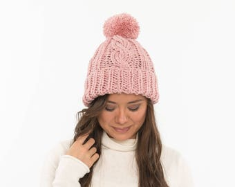 ec416b052bd Chunky Cable Knit Fold-Over Brim Pom Pom Hat