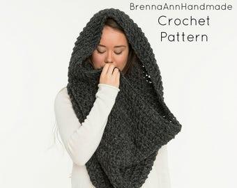 CROCHET PATTERN - The XL Chunky Crochet Blanket Infinity Scarf Pattern, Cowl / Hood / Neck Warmer, Crocheted Beginner Easy diy Project