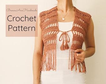 ef73fc0eb CROCHET PATTERN - Crochet Lightweight Short Tassel Vest, Crocheted Fringe  Cardigan, Beginner / Intermediate DIY Duster - The Desert Sun Vest