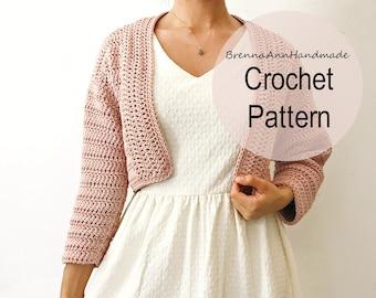 CROCHET PATTERN - Crochet Lightweight Cardigan, Crocheted Cardi, Beginner / Intermediate DIY Shrug, Sweater - The Peony Cardigan