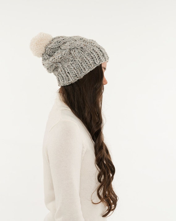 Chunky Knit Cable Slouchy Hat Pom Pom Wool Beanie Ribbed  8bcd408fc11