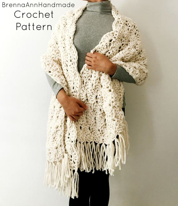 Crochet Pattern The Seashell Shawl Chunky Scalloped Fringe Crochet Shawl Wrap Scarf Diy Pattern Instant Download Pdf