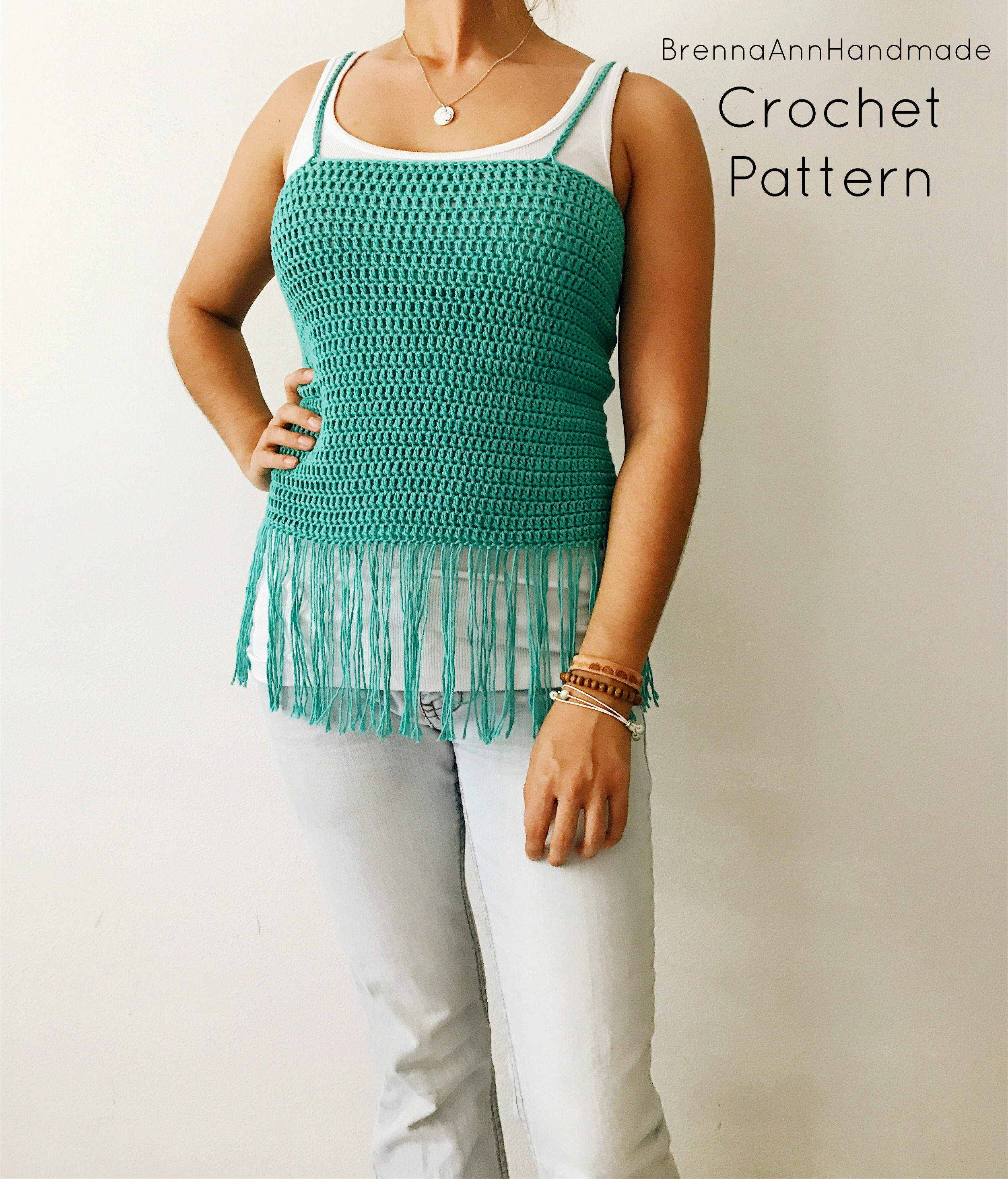 Sale Crochet Pattern Simple Fringe Tank Top Lightweight Etsy