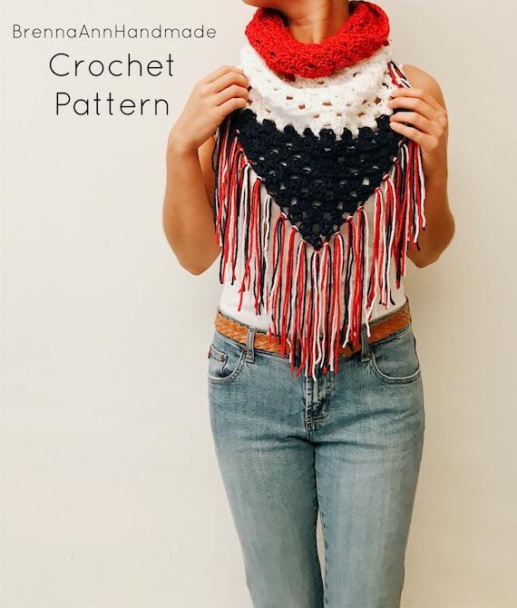 Sale Crochet Pattern The Usa Triangle Infinity Fringe Cowl Etsy