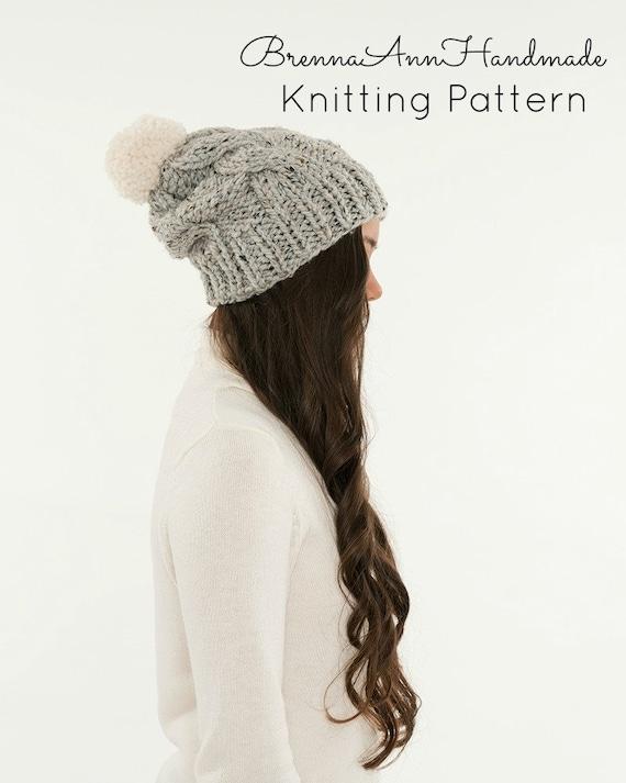 KNITTING PATTERN Cable Slouchy Knit Pom Pom Hat Pattern | Etsy