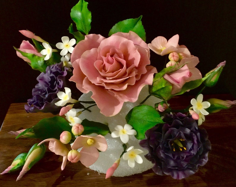 Sugar flowers gumpaste cake topper with Roses Jasmin | Etsy