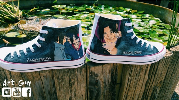 9bf3ca5a42fe Items similar to naruto manga hand painted shoes converse Custom one of a kind  canvas on Etsy