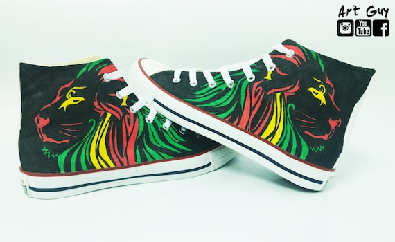03c6e235cac1 Items similar to bob marley lion converse hand painted marley Custom shoes  one of a kind canvas early christmas gift ArtGuy on Etsy