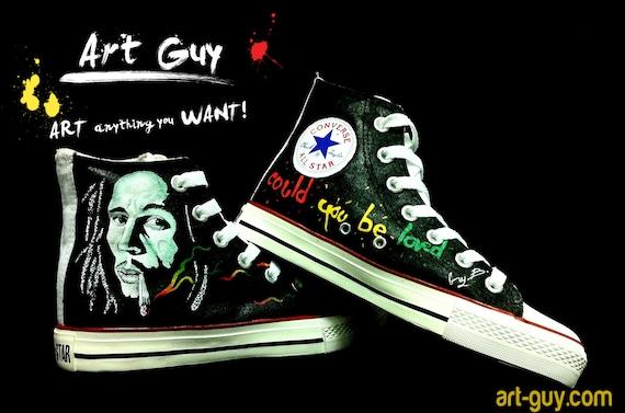 9f37389cc9b2 Items similar to hand painted shoes bob marley converse Custom shoes one of  a kind canvas bob marley ArtGuy on Etsy