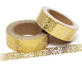 Washi Tape Floral Gold Foil 10m Flowers