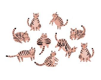 Pink kitties - glicée print