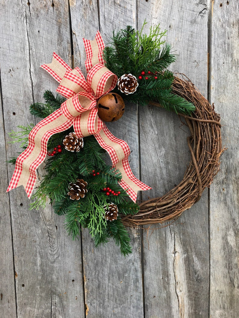 Farmhouse Christmas Wreath Christmas Wreaths For Front Door Etsy