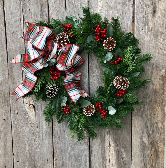 Artificial Christmas Wreaths.Artificial Christmas Wreath Winter Wreath For Front Door Christmas Wreaths For Front Door Tartan Ribbon Christmas Grapevine Wreath Gift