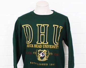 Vintage 1990s Duck Head University Duck Head Clothing Forrest Green Size Large Crew Neck Sweatshirt