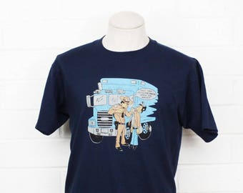 Vintage 90s Police Officer Cartoon Shirt Large Sheriff Trucker Funny Graphic Tee T-Shirt