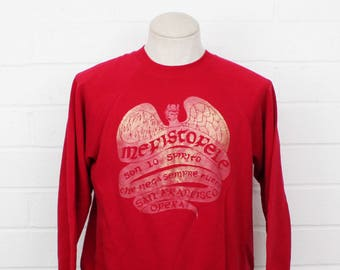 Vintage 1980s Mefistofele San Francisco Opera 90s Rose Red Size LARGE Crew Neck Sweatshirt