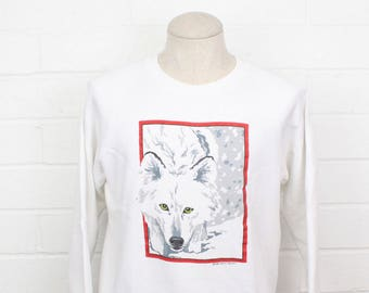 Vintage 1980s Arctic Fox with Green Eyes Portrait Style White Size LARGE Crew Neck Sweatshirt