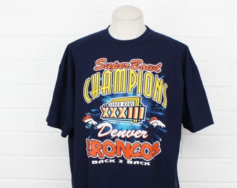 Vintage 90s Denver Broncos XL Shirt Super Bowl XXXIII 1999 Champions Navy Blue Tee T-Shirt