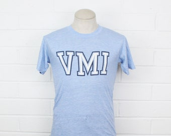 1ea8a5714f45 Vintage 70s VMI Medium Shirt Blue Virginia Military Institute Thin and Soft  1970s T-Shirt Tee