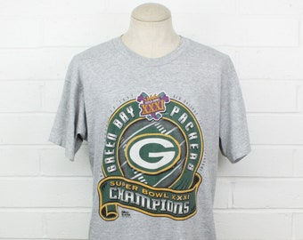 de5286bb1 Vintage 90s Green Bay Packers Large Shirt Super Bowl Champions 1997 Gray Tee  T-Shirt