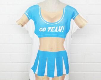 40902516b7a Vintage 90s Bikini Body Top Cover Shirt Cheerleader Outfit GO TEAM Fun2Wear  Blue Beach Wear Tee