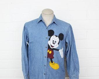 Vintage 90s Mickey by Jerry Leigh Denim Button Up Medium Blue Mickey Mouse Disney Waving Long Sleeve- MEDIUM