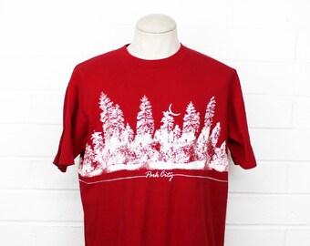 Vintage 80s Park City Utah Shirt Red XL Crazy Shirt Hawaii Wrap Around Crescent Moon Tree Line Nature Tee X Large T Shirt