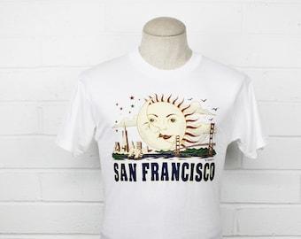Vintage 90s San Francisco Tourist Shirt Medium Shirt Rising Sun and Moon City Skyline Golden Gate Bridge T Shirt