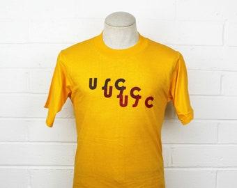 77b33b53dc0 Vintage 70s 1970s USC Tri Color Shirt Gold Medium University of Southern  California Trojans Tee T Shirt