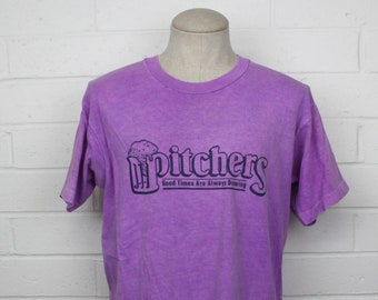 Vintage 90s Pitchers Brewery Shirt Purple Fort Collins Colorado Sports Micro Brew Beer Drinker Tee