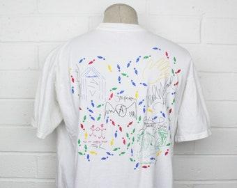 Vintage 90s Aerosmith x Hard Rock Cafe Shirt XL White Signature Series X Steven Tyler Save the Planet Rock Band Tee