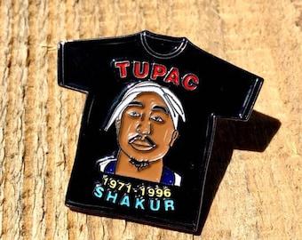 Tupac Shakur Rap Tee Hat Enamel Pin Vintage Inspired
