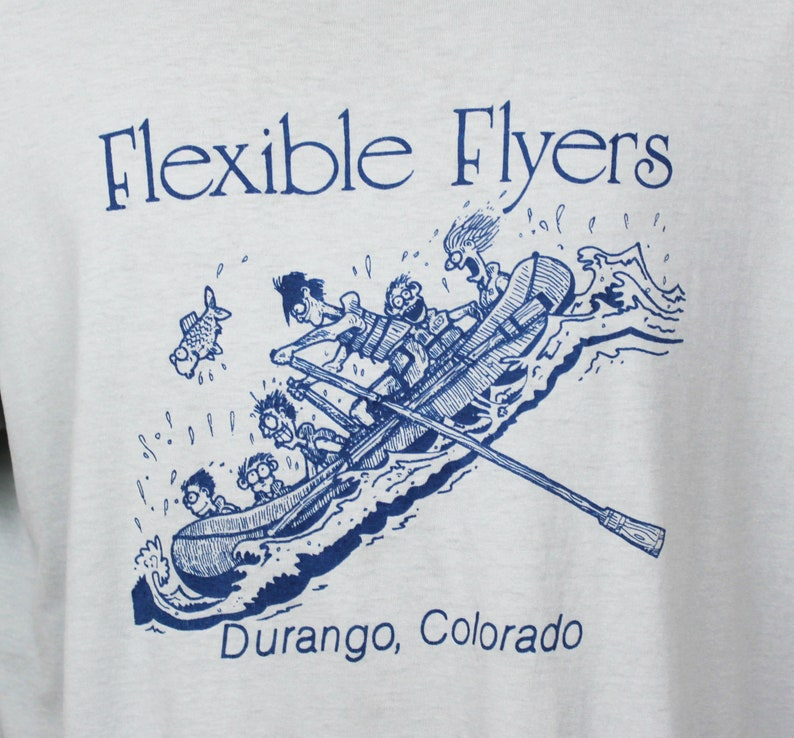 Vintage 80s 1980s Rafting Adventure Shirt Gray Durango Colorado Flexible Flyers White Water Extreme Outdoor Sports Tee T Shirt