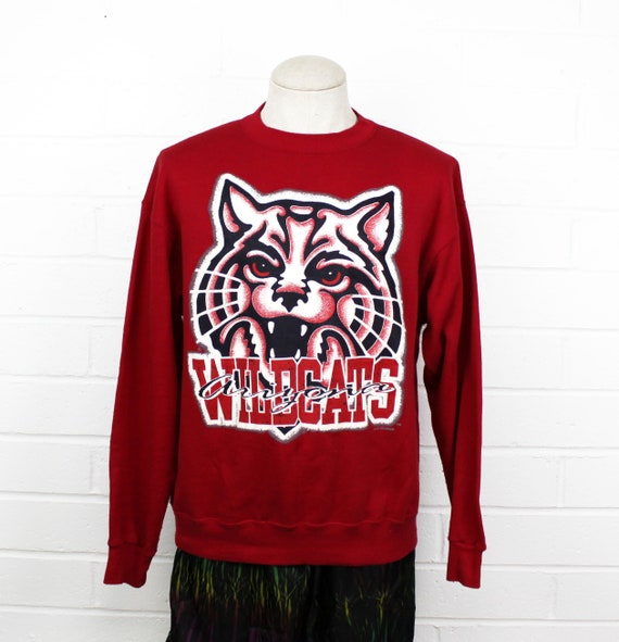 Vintage 90s University of Arizona Sweatshirt Classic Red Large Logo U of A Wildcats Crew Neck Sweater