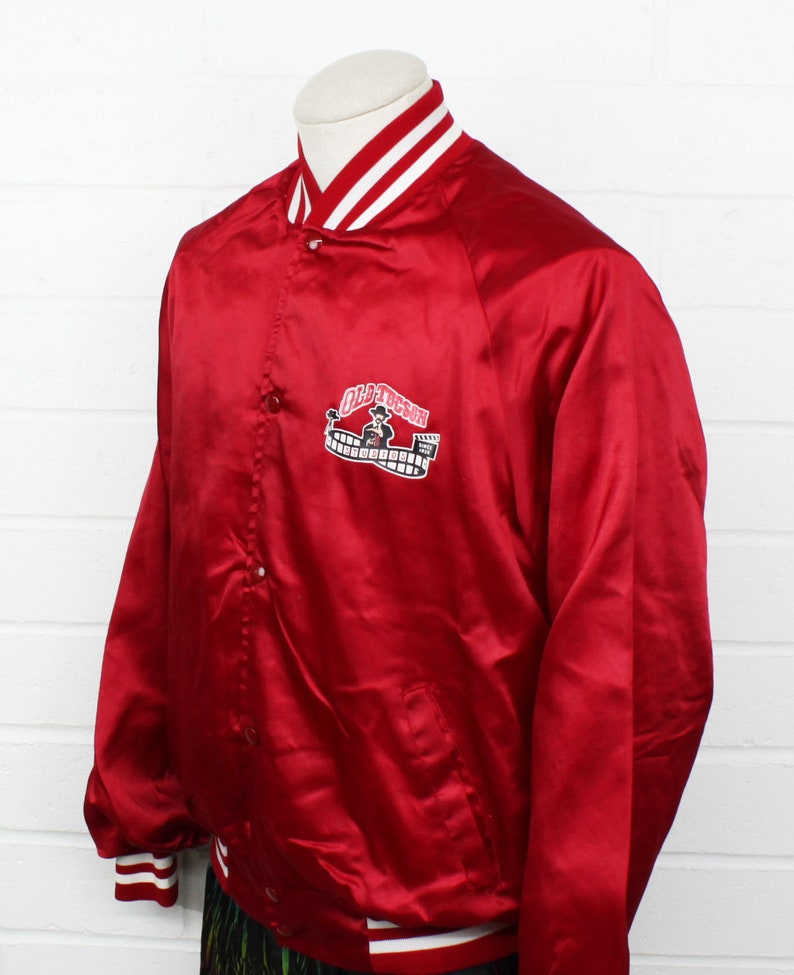 Vintage 80s Old Tucson Bomber Large Jacket Red and White Western Movies Hollywood Studio Snap Button Shiny Jacket