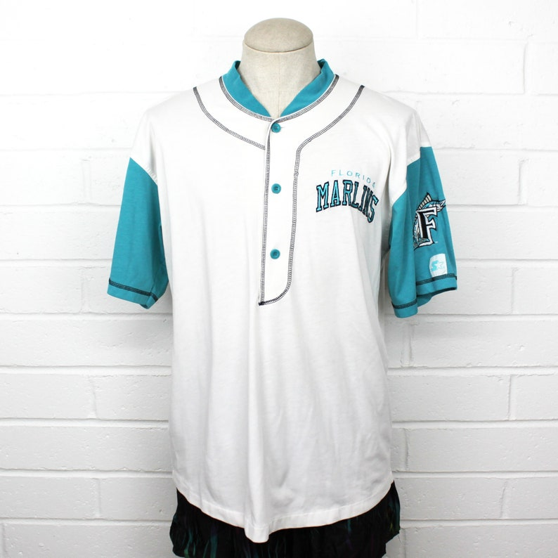 huge sale 5322f 7e047 Vintage 90s Florida Marlins Starter Jersey Large Teal White Baseball Soft  Quarter Button Miami Shirt