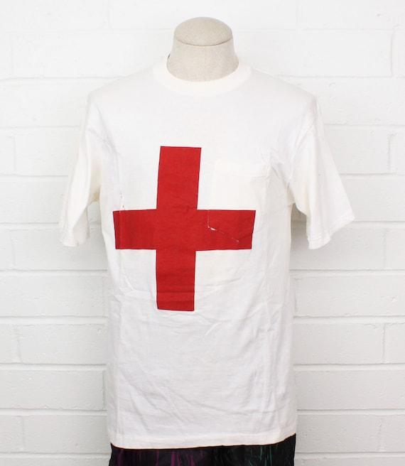 Vintage 60s Red Cross Shirt XL BVD White Pocket Do
