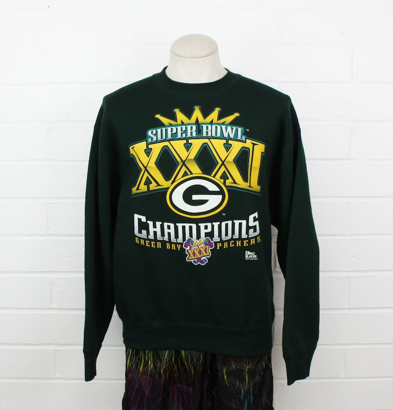 6a7a51cc Vintage 90s Green Bay Packers XL Sweatshirt Super Bowl XXXI Champions NFL  Football Forrest Green Pullover X Large Sweater