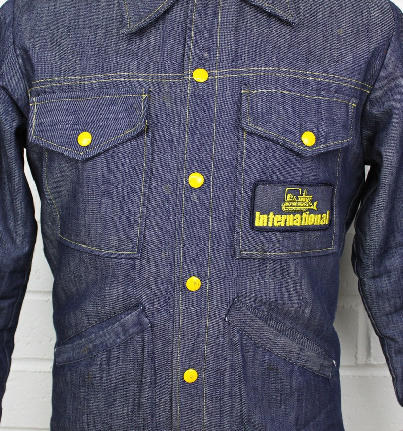Vintage 70s Denim Farmer Tractor Jacket Small Yellow Lined Stitched Button Up Pocketed Utility Faux Fur Coat