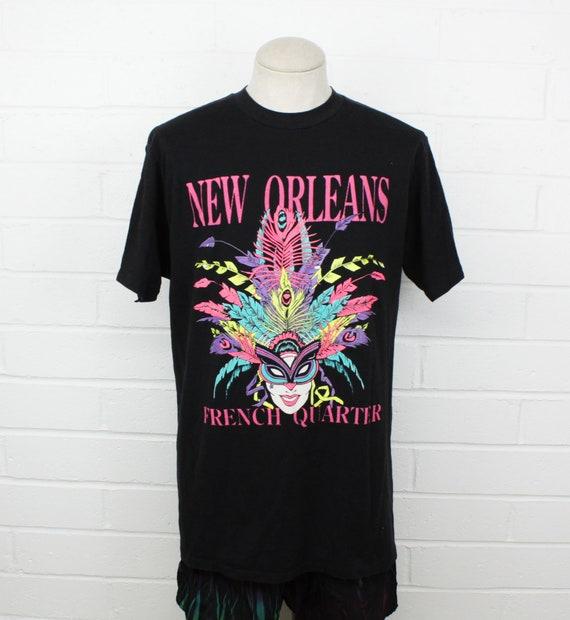 1528eb2f1b8 Vintage 90s New Orleans Mardi Gras Shirt XL Black Mask | Etsy