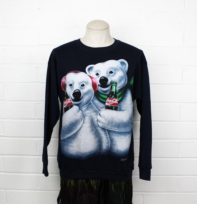 Vintage 90s Coca Cola Polar Bear Blue Sweatshirt Cute Coke XL Advertisement  X-large Sweater