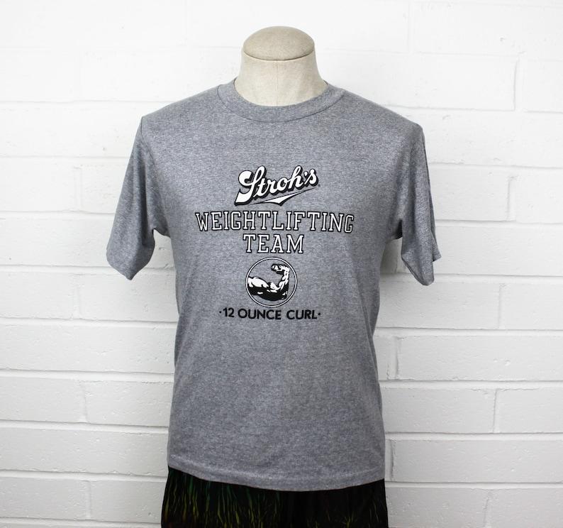 Vintage 80s Strohs Beer Shirt Gray Medium Weightlifting Team 12 oz Curl Logo T Shirt