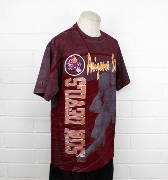 Vintage 90s Arizona State University Shirt Large All Over ASU Sun Devils Football Double Sided College Tee T Shirt