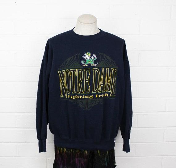 Vintage 90s Notre Dame Sweatshirt XL Fighting Irish Navy Blue College Crew Neck Sweater