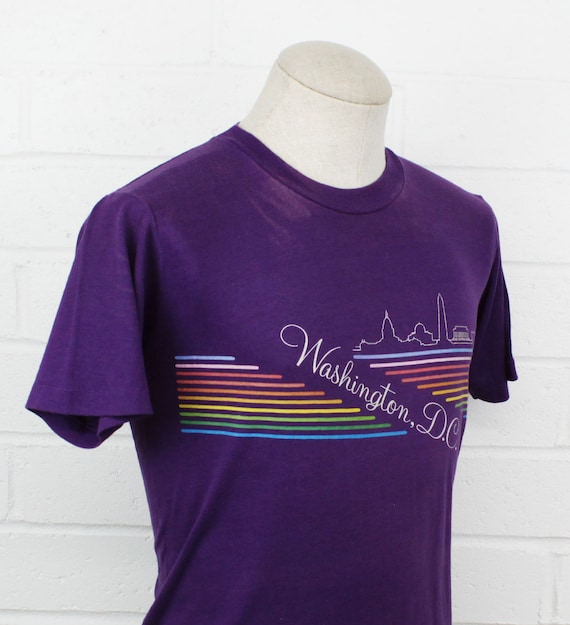 Vintage 80s Washington DC Medium Shirt Rainbow Pu… - image 2