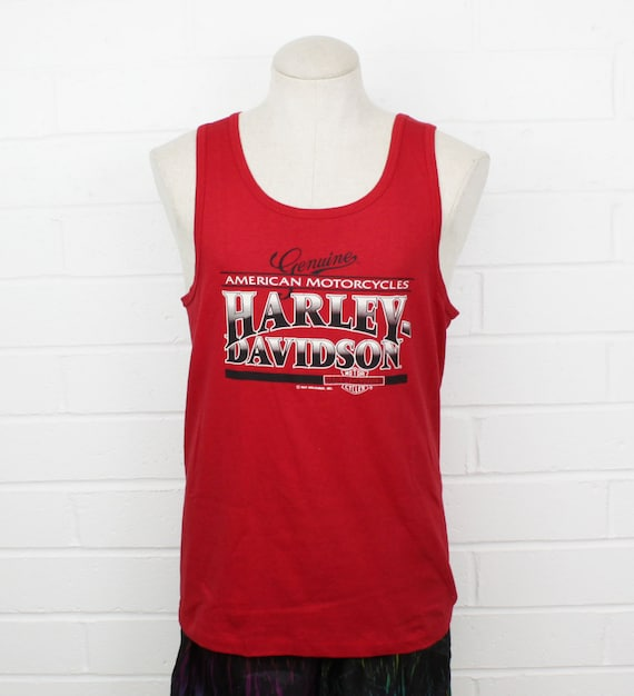 Vintage 90s Harley Davidson Red Tank Top Medium American Etsy