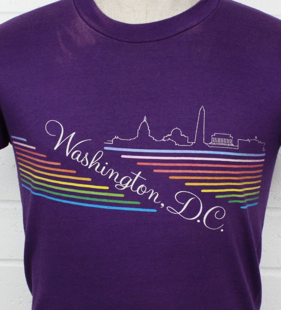 Vintage 80s Washington DC Medium Shirt Rainbow Pu… - image 3
